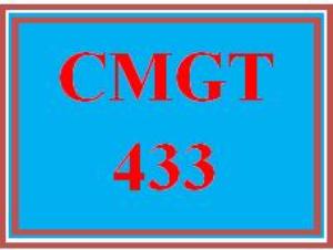 CMGT 433 Entire Course | eBooks | Education