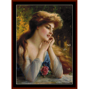thoughtful repose - emile vernon cross stitch pattern by cross stitch collectibles