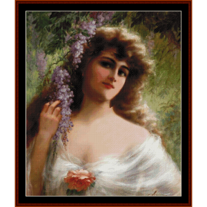 woman with grape vine - emile vernon cross stitch pattern by cross stitch collectibles