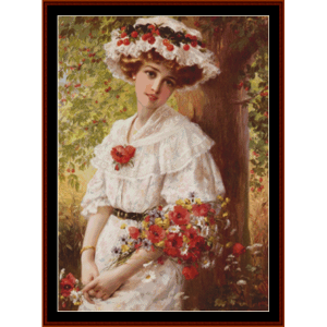 under the cherry tree - emile vernon cross stitch pattern by cross stitch collectibles