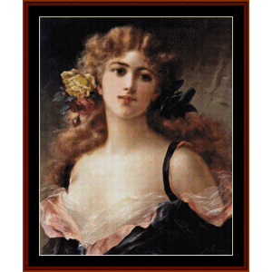 Girl with Yellow Rose - Emile Vernon cross stitch pattern by Cross Stitch Collectibles | Crafting | Cross-Stitch | Other