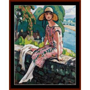 Lili on the Bridge - Gerda Wegener cross stitch pattern by Cross Stitch Collectibles | Crafting | Cross-Stitch | Other