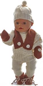 dollknittingpatterns 0040d kirsten - trui, muts, skibroek, schoentjes, sjaal en wantjes-(nederlands)