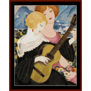 two women and guitar – gerda wegener cross stitch pattern by cross stitch collectibles