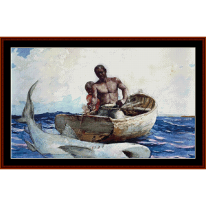 Shark Fishing, 2nd edition – Winslow Homer cross stitch pattern by Cross Stitch Collectibles | Crafting | Cross-Stitch | Other