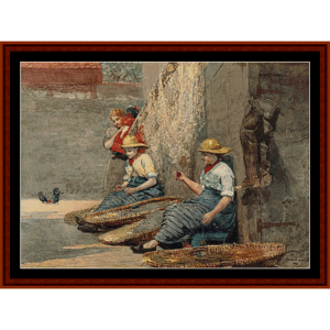 Fishergirls Coiling Tackle - Winslow Homer cross stitch pattern by Cross Stitch Collectibles   Crafting   Cross-Stitch   Other