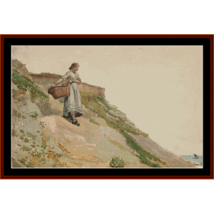 girl carrying a basket – winslow homer cross stitch pattern by cross stitch collectibles