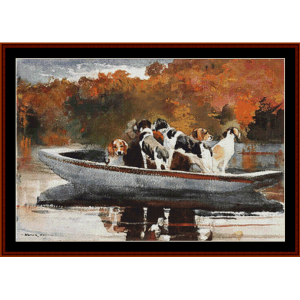 hunting dogs in boat – winslow homer cross stitch pattern by cross stitch collectibles