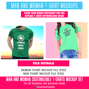 male and female customizable t-shirts mock-up set