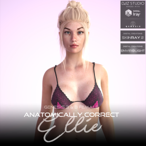 anatomically correct: ellie for genesis 3 and genesis 8 female