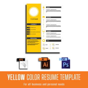 yellow color resume customized template