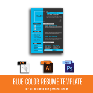 blue color resume customized template