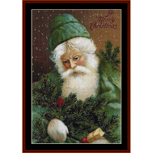 Santa in Green cross stitch pattern by Cross Stitch Collectibles | Crafting | Cross-Stitch | Other