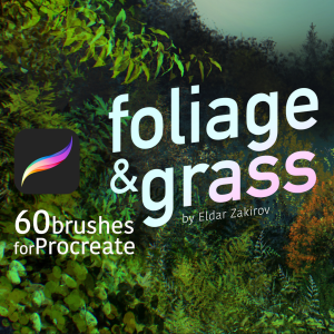 60 foliage & grass brushes for procreate