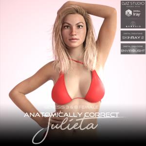 Anatomically Correct: Julieta for Genesis 3 and Genesis 8 Female | Software | Design