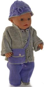 dollknittingpatterns  0017d kirsten - lilla selskapsdress, utejakke, hatt, pannebånd, veske og sko -(norsk)