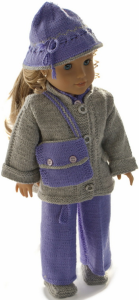 dollknittingpatterns 0017d kirsten - combinaison, veste, chaussures, chapeau, bandeau et sac-(francais)