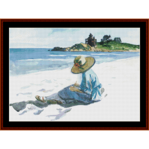 Jo Sketching at Good Harbour Beach – Edward Hopper cross stitch pattern by Kathleen George at Cross Stitch Collectibles | Crafting | Cross-Stitch | Other