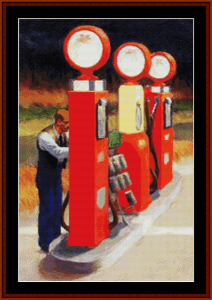 Gas, Detail – Edward Hopper cross stitch pattern by Kathleen George at Cross Stitch Collectibles | Crafting | Cross-Stitch | Other