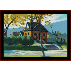 Small Town Station  – Edward Hopper cross stitch pattern by Kathleen George at Cross Stitch Collectibles   Crafting   Cross-Stitch   Other
