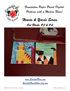 cat blocks 3 & 4 - hearts & yards series foundation paper pieced (fpp) block pattern