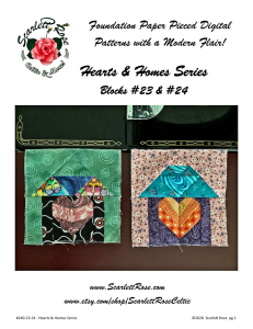 home blocks 23 & 24 - hearts & homes series foundation paper pieced (fpp) block pattern