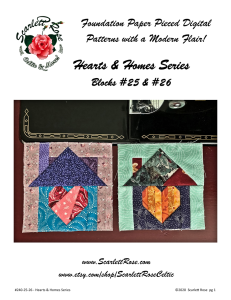 home blocks 25 & 26 - hearts & homes series foundation paper pieced (fpp) block pattern