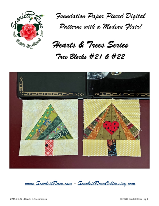 First Additional product image for - Tree Blocks 21 and 22 Foundation Paper Pieced FPP Digital Pattern - Hearts & Trees Series
