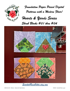 shrub blocks 1 through 4 - hearts & yards series foundation paper pieced (fpp) block pattern