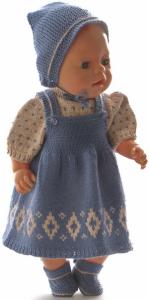 dollknittingpatterns 0216d dortea - pulli, rock, unterhose, haarband / kopftuch und schuhe-(deutsch)