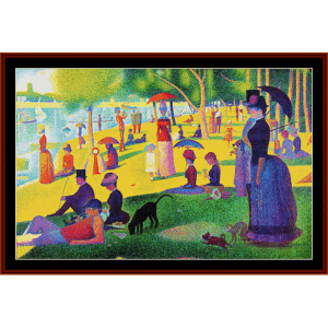 sunday afternoon in the park ii – georges seurat cross stitch pattern by kathleen george at cross stitch collectibles