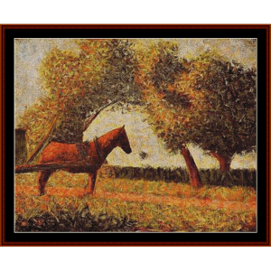 The Harnessed Horse – Georges Seurat cross stitch pattern by Kathleen George at Cross Stitch Collectibles | Crafting | Cross-Stitch | Other