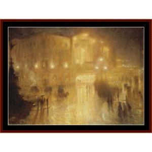 a wet night at picadilly circus – arthur hacker cross stitch pattern by kathleen george at cross stitch collectibles