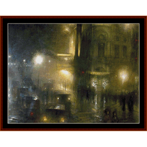 picadilly circus at night – arthur hacker cross stitch pattern by kathleen george at cross stitch collectibles