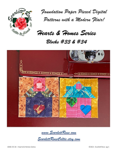 home blocks 33 & 34 - hearts & homes series foundation paper pieced (fpp) block pattern