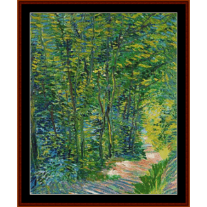 path in the woods - van gogh cross stitch pattern by kathleen george at cross stitch collectibles