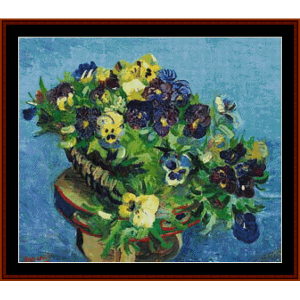 basket of pansies – van gogh cross stitch pattern by kathleen george at cross stitch collectibles