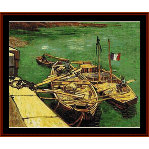 unloading barges – van gogh cross stitch pattern by kathleen george at cross stitch collectibles