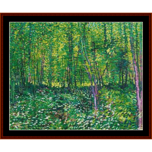 trees and undergrowth – van gogh cross stitch pattern by kathleen george at cross stitch collectibles