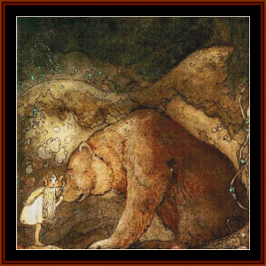 she kissed the bear – john bauer cross stitch pattern by kathleen george at cross stitch collectibles