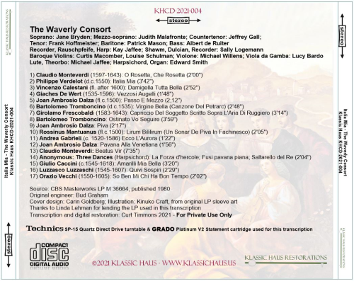 First Additional product image for - Songs and Dances of the Italian Renaissance - The Waverly Consort