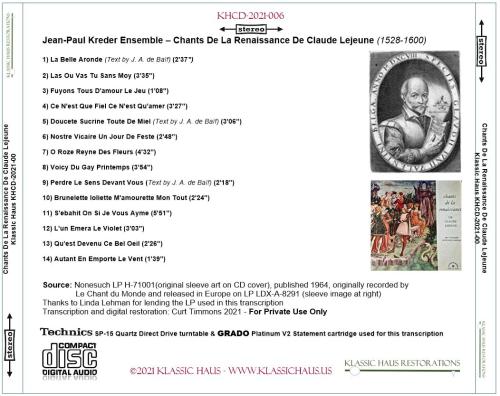 First Additional product image for - Jean-Paul Kreder Ensemble – Chants De La Renaissance De Claude Lejeune