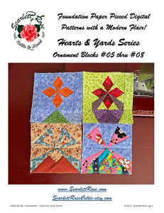 Ornament Blocks 5 thru 8 - Hearts & Yards Series Foundation Paper Pieced (FPP) block pattern | Crafting | Sewing | Other