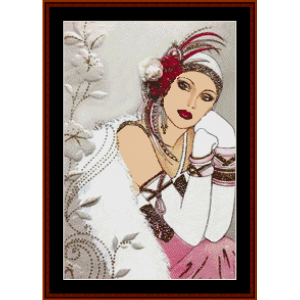 glamour girl with red feathers - christmas cross stitch pattern by kathleen george at cross stitch collectibles