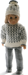 dollknittingpattern 0217d sune -  sweater, pants, cap, socks, shoes and rucksack-(english)