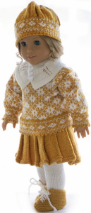 dollknittingpattern 0019d kirsten - sweater, skirt w/ pleats, hat, shoes, tights and a warm little collar for cold days-(english)