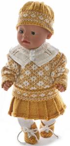 dollknittingpatterns 0019d kirsten - trui, rokje, muts, schoentjes, de legging,kousenbroek. rokje met plooien en een warme kraag-(nederlands)