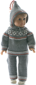 dollknittingpattern 0218d anne beth -  overall (pants), sweater, short-sleeved sweater, cap, socks and shoes-(english)