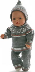 dollknittingpatterns 0218d anne beth -  overall (hose), pullover, kurzarmpulli, mütze und schuhe-(deutsch)