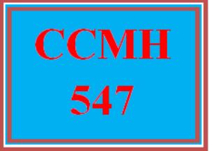 CCMH 547 Wk 6 - Case Study Assessment | eBooks | Education